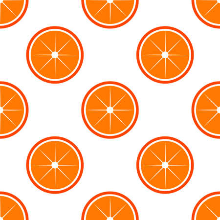 Orange fruit seamless bright pattern. Vector illustration