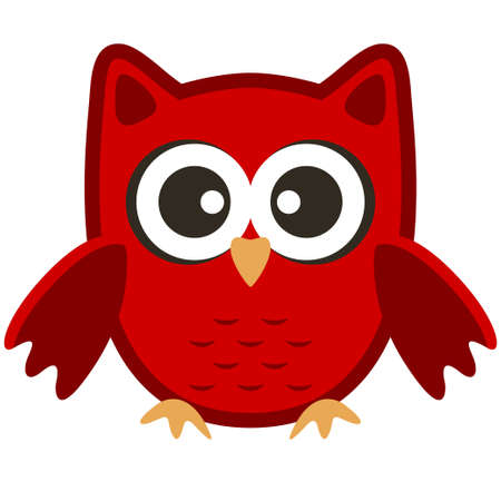 Owl funny stylized icon symbol brown red colors Çizim
