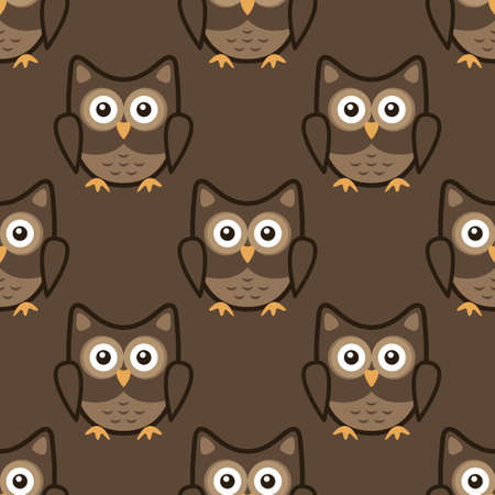 Owl stylized art seemless pattern brown colors. Vector illustration
