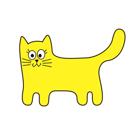 Funny stylized cat sign cartoon icon in curve lines. Vector illustration Illustration