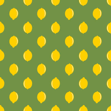 Lemon yellow whole fruit seamless art on green pattern background
