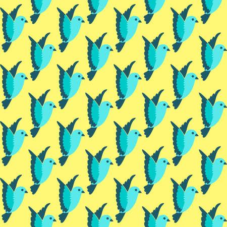 Flying little bird seamless bright pattern background