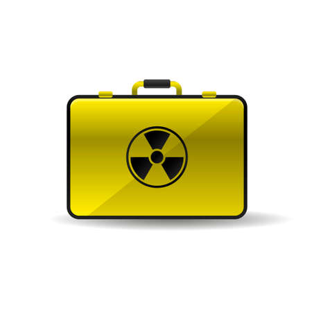 Suitcase with radioactive emblem danger power icon black yellow