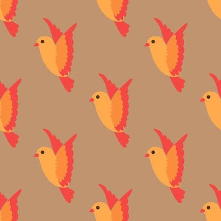 Flying little bird seamless bright pattern background Illustration