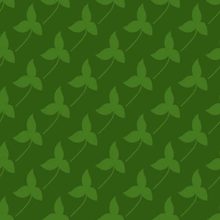 Saint Patrick day green clover seamless pattern. Vector illustration