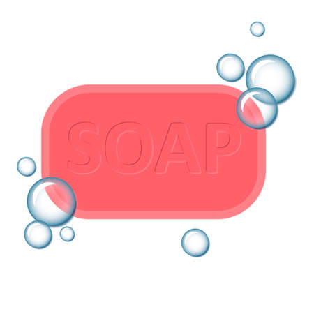 Soap with bubbles icon symbol wash hands