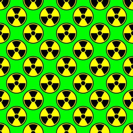 Radioactivity emblem danger power icon background green black yellow Illustration