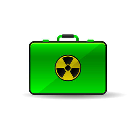 Suitcase with radioactive emblem danger power icon green black yellow Illustration