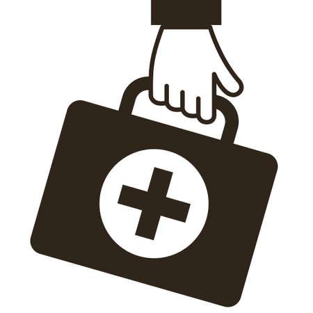 Hand keep virus first aid help kit box icon