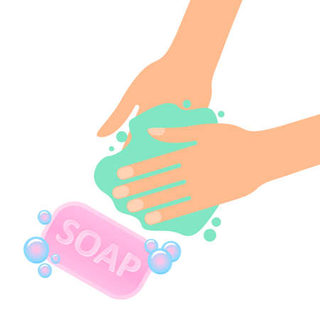 Wash your hands with soap sign virus protection 矢量图像