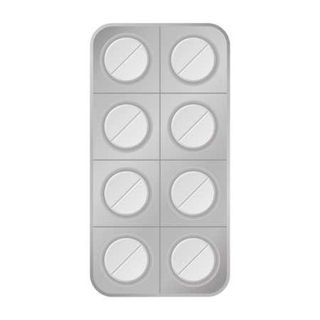 Virus white pill tablet medical help icon vector Illustration