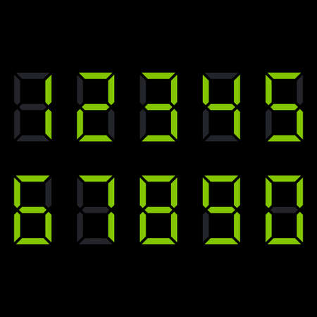 Digit electronic numbers watch display black green. Vector illustration Illustration