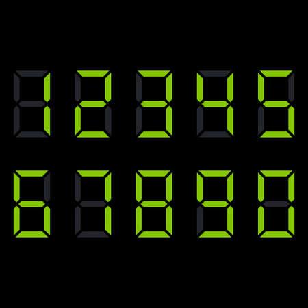 Digit electronic numbers watch display black green. Vector illustration 矢量图像