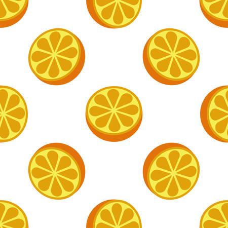 Orange fruit seamless bright white art pattern Illustration