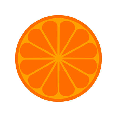 Orange citrus fruit icon bright art . Vector illustration