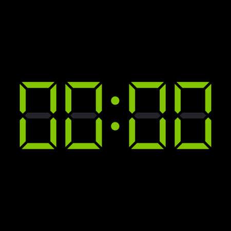 Digit electronic numbers zero watch display black green. Vector illustration 矢量图像
