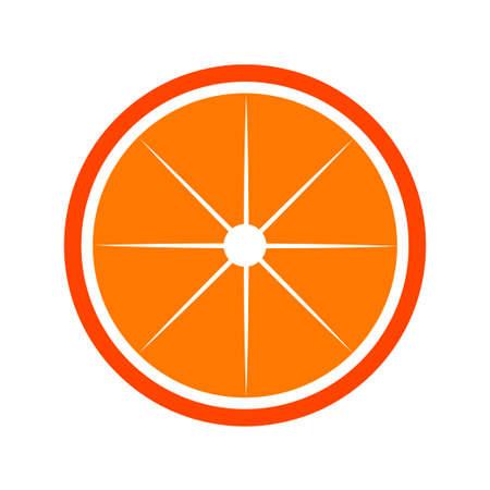 Orange citrus half fruit icon bright art . Vector illustration