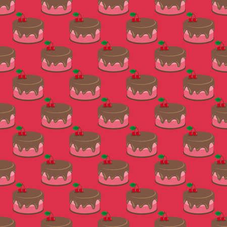 Cream choco cherry cake tasty seamless background pattern Illustration