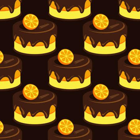 Cream choco cake tasty seamless background pattern