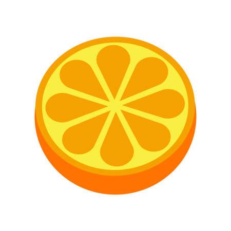 Orange citrus fruit icon bright art vector Illustration