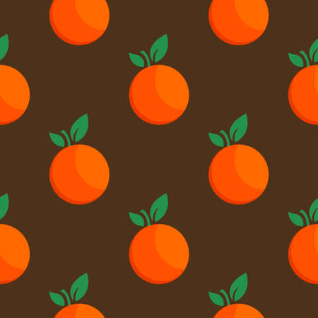 Orange fruit seamless bright art vector pattern Illustration