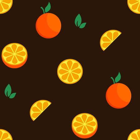 Orange fruit set seamless bright art vector pattern