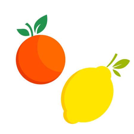Lemon orange citrus fruit icon bright art vector
