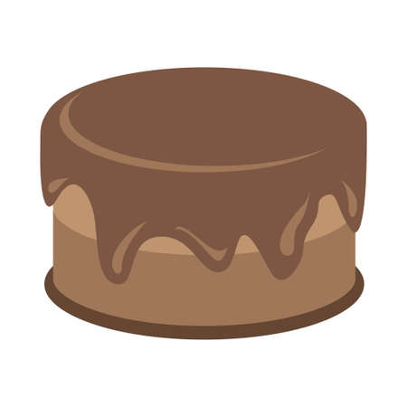 Cream choco brown cake tasty with topping. Vector illustration Illustration