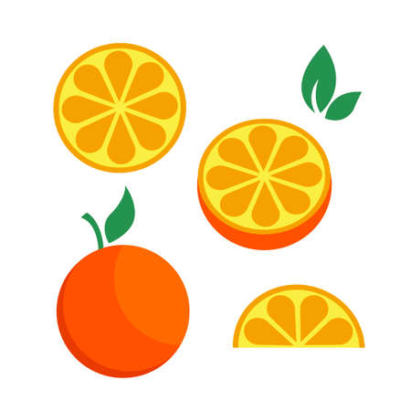 Orange citrus parts set half fruit icon bright art. Vector illustration