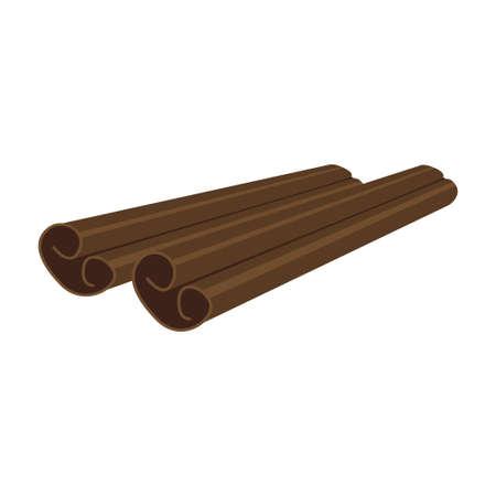 Cinnamon aroma sticks isolated on white background. Vector illustration