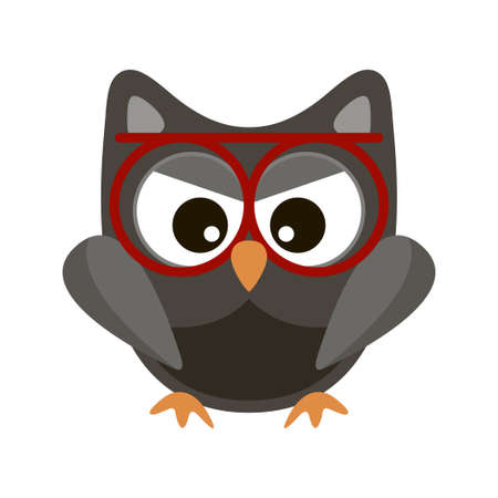 Owl funny stylized icon symbol brown colors