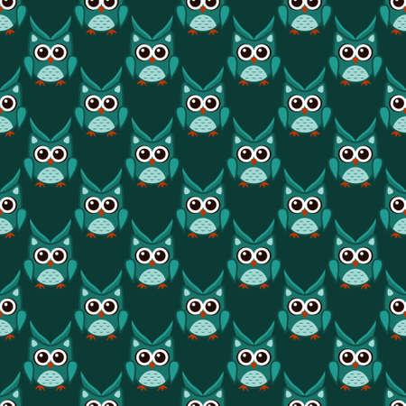 Owl stylized art seemless pattern green colors Illustration