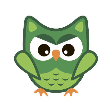 Owl funny stylized icon symbol green colors Illustration