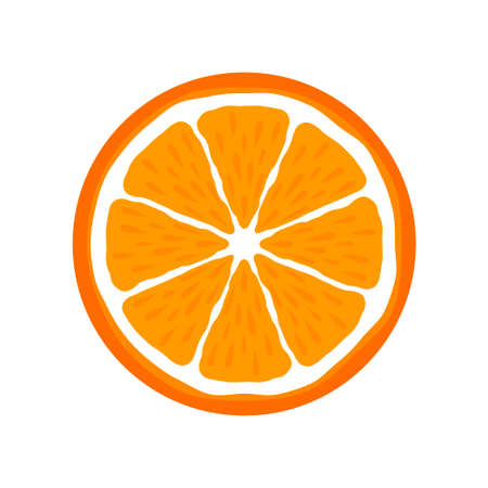 Orange slice citrus fruit icon bright art vector