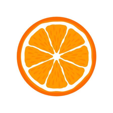 Orange slice citrus fruit icon bright art vector 矢量图像