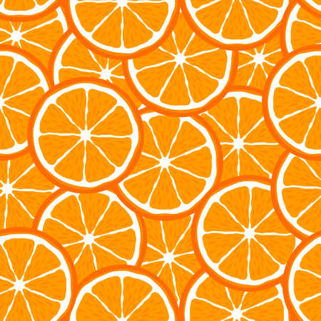 Orange slice fruit citrus seamless bright pattern Illustration