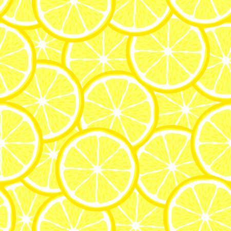 Lemon slice fruit citrus seamless bright pattern Illustration