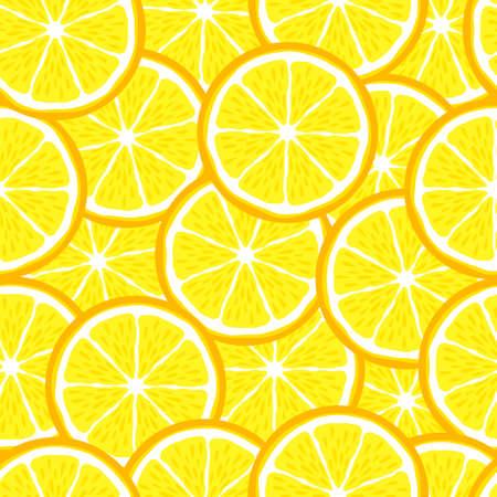 Lemon slice fruit citrus seamless bright pattern 矢量图像