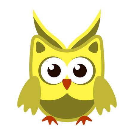 Owl funny stylized icon symbol green yellow colors Illustration