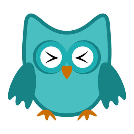 Owl funny stylized icon symbol blue colors