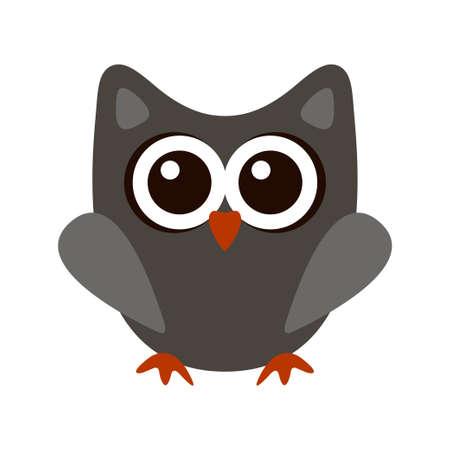Owl funny stylized icon symbol gray colors 矢量图像