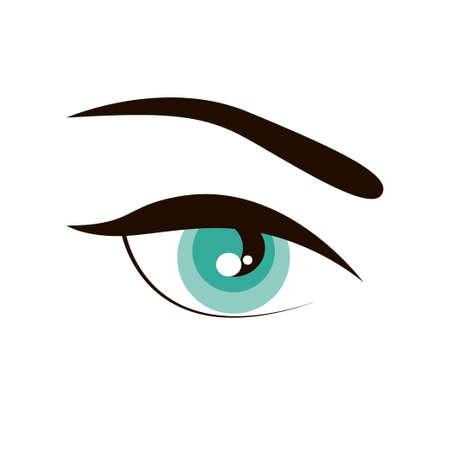 Open eye with eyebrow simple sign icon