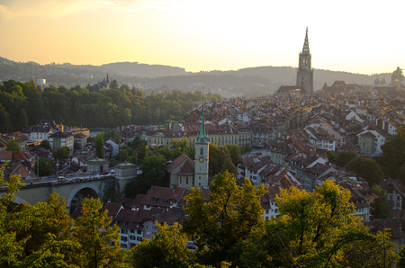 Panoramic view of the historic old city center of Bern the capital of Switzerland