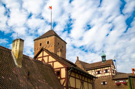 Old medieval castle Heathen Tower Kaiserburg in the city of Nuremberg Nurnberg, Mittelfranken region, Bavaria, Germany