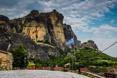 Meteora Rocks with famous monasteries seen from town Kalabaka, Greece
