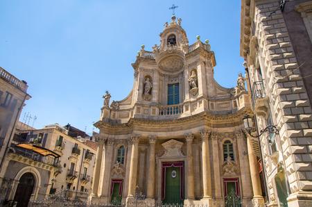 Basilica della Collegiata Baroque church Santa Maria dell' Elemosina Royal Chapel (Regia Cappella) on Via Etna street in city centre of Catania, Sicily, Italy 写真素材