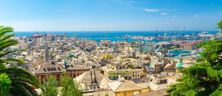 Top aerial scenic panoramic view from above of old historical centre quarter districts, panorama of european city Genoa (Genova), port and harbor of Ligurian and Mediterranean Sea, Liguria, Italy Foto de archivo