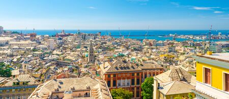Top aerial scenic panoramic view from above of old historical centre quarter districts, panorama of european city Genoa (Genova), port and harbor of Ligurian and Mediterranean Sea, Liguria, Italy Zdjęcie Seryjne