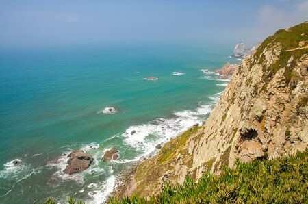 Portugal, The Western Cape Roca of Europe, landscape of Cape Roca, Atlantic ocean coastline view from Cabo da Roca, Azure Atlantic water, cliffs of coastline at the extreme point of Europe Stock Photo