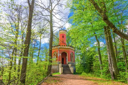 Charles IV lookout tower neo-gothic brick building in Slavkov forest, beech trees with green leaves on branches in thick dense wood near Karlovy Vary (Carlsbad) town, West Bohemia, Czech Republic